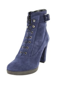Emporio Armani Women Suede Lace Up Blue Boots