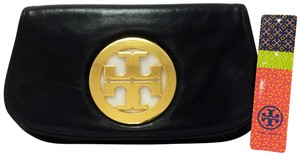 Tory Burch Leather Gold Hardware Stacked Logo Black Clutch