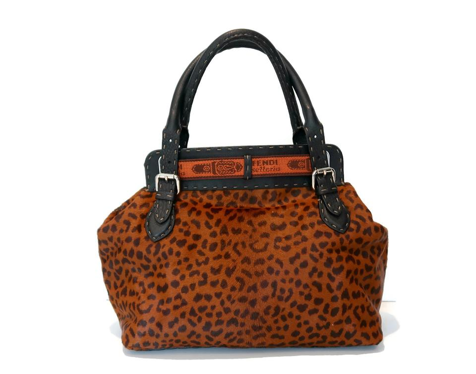 28340215980 Fendi Selleria Borghese Leopard Calf Hair Shoulder Bag - Tradesy