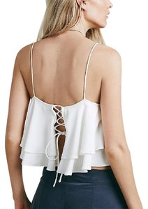 Free People Fp New Lace Up Swing Bohemian Festival Cropped Top Cream