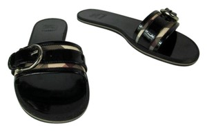 Burberry Black Leather Check Stirrup Patent Sandals
