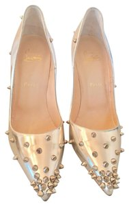 Christian Louboutin Studded Leather Silver Pumps