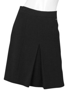 Chanel Boucle Pleated Skirt Black