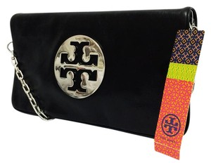 3b096b7002b Tory Burch Stacked Double- Reva Leather Black Clutch - item med img