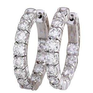 Fashion Strada 3.48CTW Natural Diamond Hoop Earrings 14K Solid White Gold