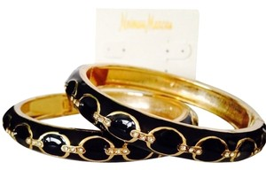 Neiman Marcus 2-Piece Set Black Enamel & Gold Chain Print Bangle Bracelet NWOT