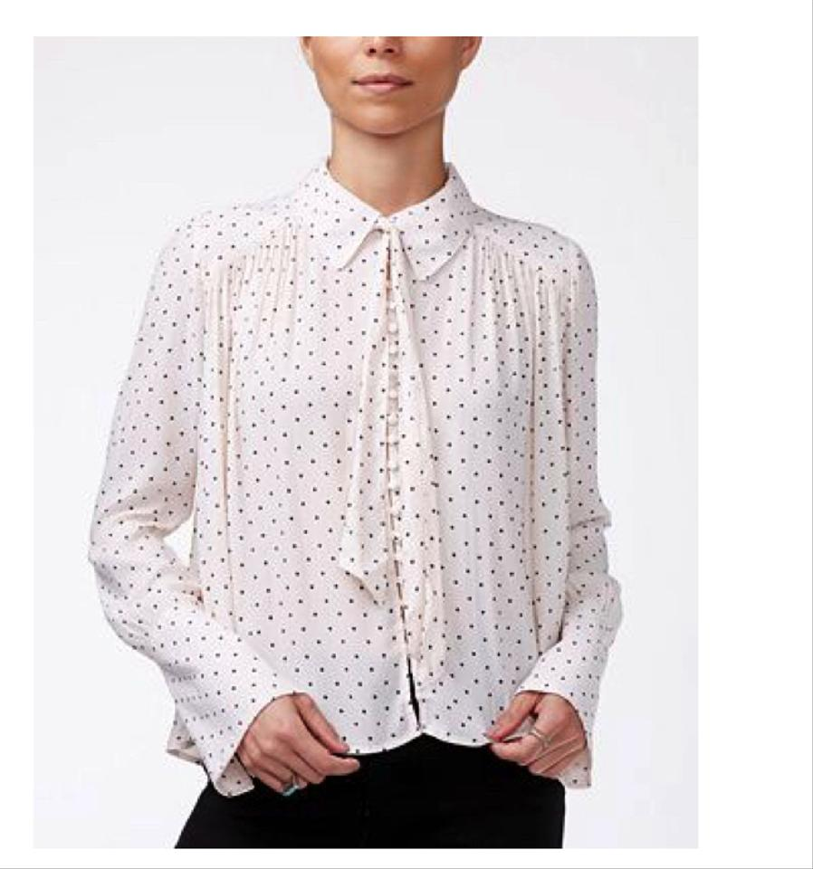 Free people light pink light peach new world dotted for Pastel pink button down shirt