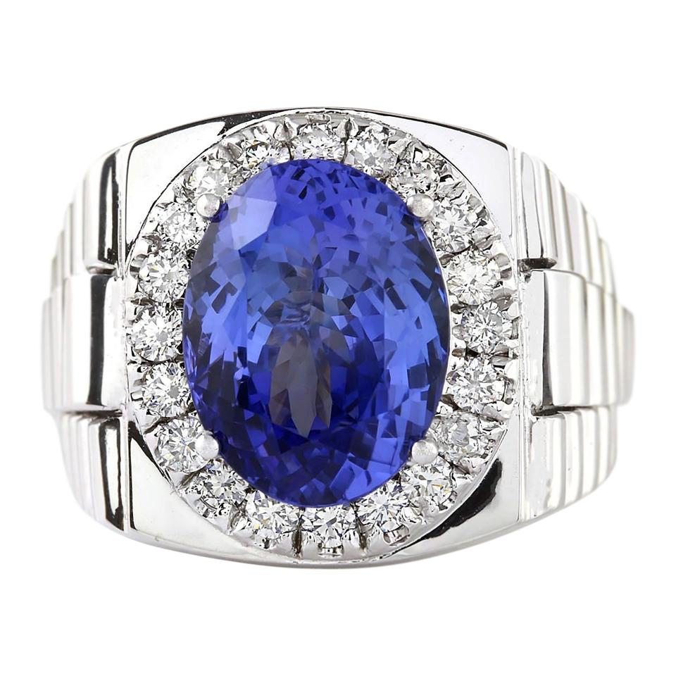 mens attractive topaz band s vintage wedding black modern blue men rings gold tanzanite p