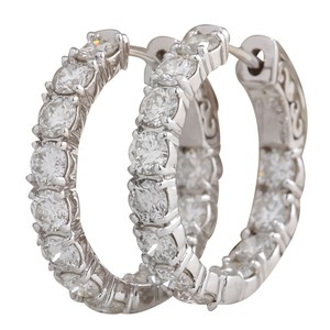 Fashion Strada 3.60CTW Natural Diamond Hoop Earrings 14K Solid White Gold