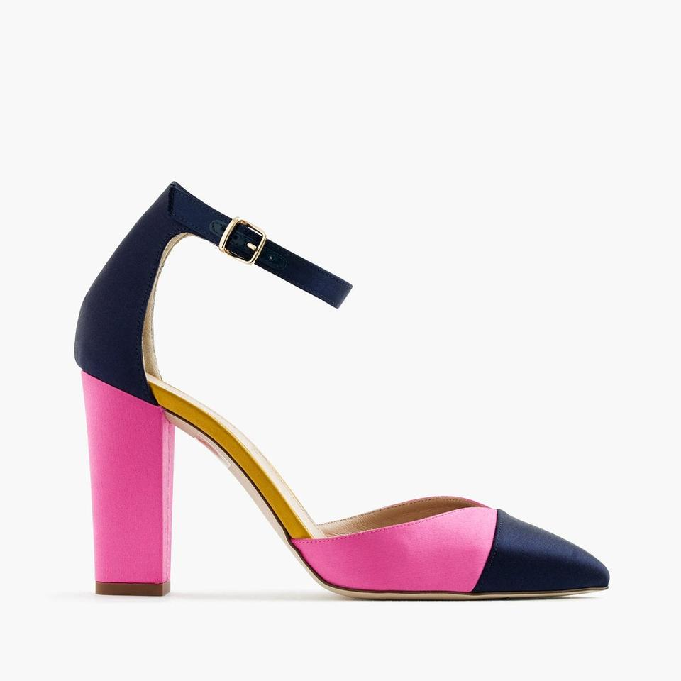 J.Crew Hot Pink and Navy Blue Satin Colorblock Pumps Size US 6 ...