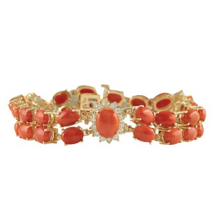 Fashion Strada 31.50CTW Natural Red Coral And Diamond Bracelet In 14K Solid Yellow Go