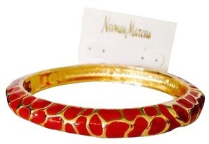 Neiman Marcus Red & Gold Enamel Cheetah Print Hinged Oval Bangle