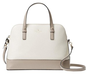 Kate Spade Small Rachelle Black Satchel in cement/mousse frost