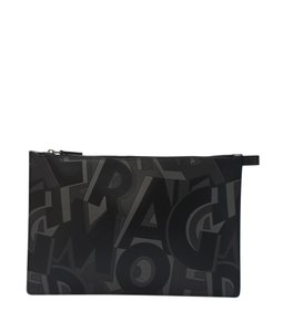 Salvatore Ferragamo Leather Black,Grey Clutch