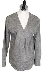 Theory V-neck Linen Longsleeve Button Down Top Gray