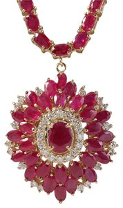 Fashion Strada 35.62CTW Natural African Ruby And Diamond Necklace In 14K Yellow Gold