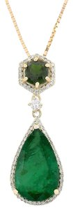 Fashion Strada 10.00 CTW Natural Emerald And Diamond Pendant In 14k Solid Yellow Gold