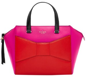 Kate Spade Color Block Satchel in Vivid Snapdragon Pink and Maraschino