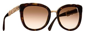 Chanel Butterfly Gold Blooming Tortoise Brown Polarized Sunglasses 5356