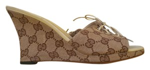 Gucci Sandals Pums Wedges Brown/beige Mules