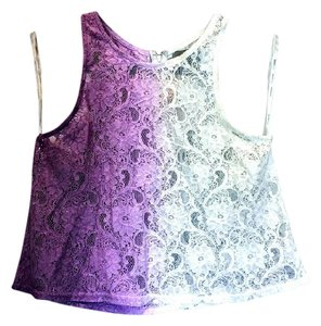 MINKPINK Crop Lace Top Purple and white