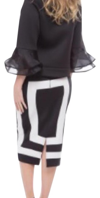 Item - Black and White Mid-length Work/Office Dress Size 22 (Plus 2x)