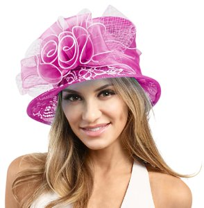 kentucky derby hat Ruffle Bow with Feather Small Brim Organza Hat Purple