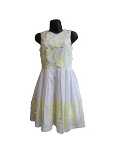 French Connection short dress White Yellow Embroidered Cotton on Tradesy