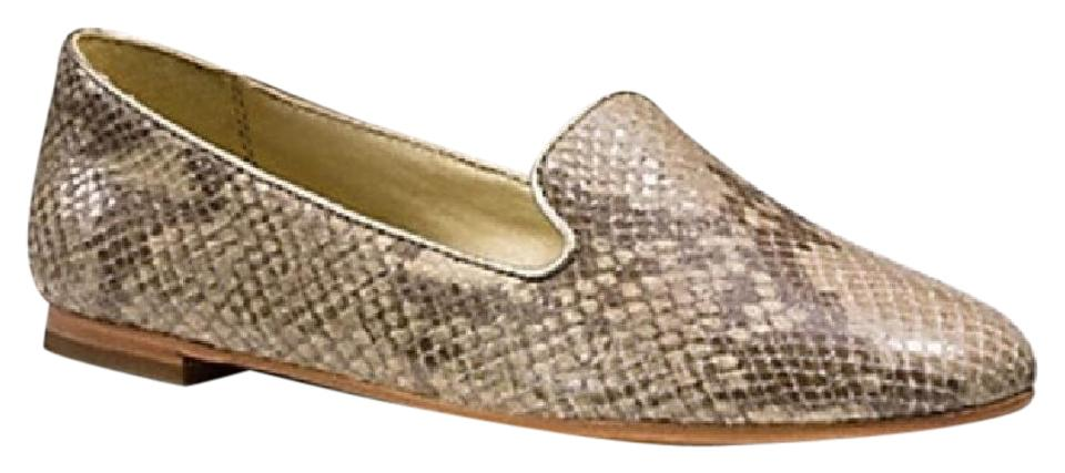 703e847e75f Coach Natural Platinum Snakeskin Print Carrie Q5321 In Snake Flats ...