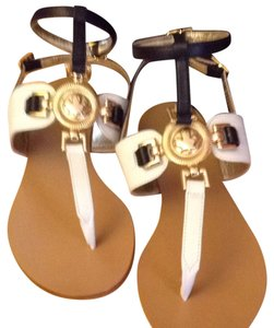 DSquared Made In Italy Vero Cuoio Leather Gold Accent Black and White Sandals