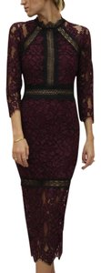 Alexis Marisa Lace Midi Half-sleeve Plum Dress