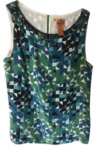 Tory Burch Beaded Tunic Top Blue,green,black,white,pink