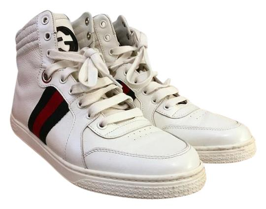 gucci leather green red stripe high top sneakers sz 40 white athletic shoes athletic on sale. Black Bedroom Furniture Sets. Home Design Ideas