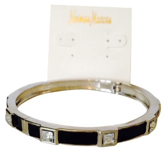 Neiman Marcus Black Enamel & Faceted Square-Cut Crystal Hinged Bangle Bracelet