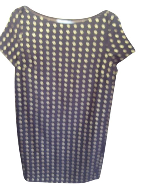 """Item - Black and Gold Spot Bust 28"""" Waist 27"""" The Bottom 28"""" Lenght From Under Arm Is 24"""" Short Night Out Dress Size 4 (S)"""