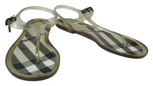 Burberry Transparent Charm Flat Check Sandals