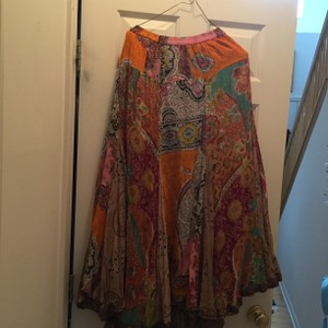 Boho Chic Maxi Skirt Orange multi on one side and brown print on other