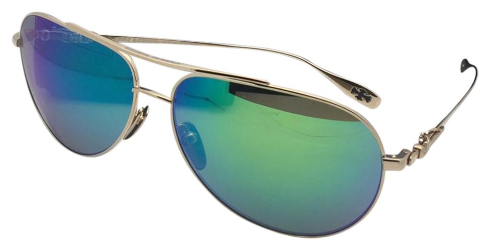 afe78025d0d4 Chrome Hearts CHROME HEARTS Sunglasses STAINS VI GP Gold Aviator w/ Green  Mirror Image 0 ...