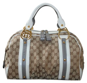 Gucci Canvas Leather Interlocking Boston Gg Satchel in Beige