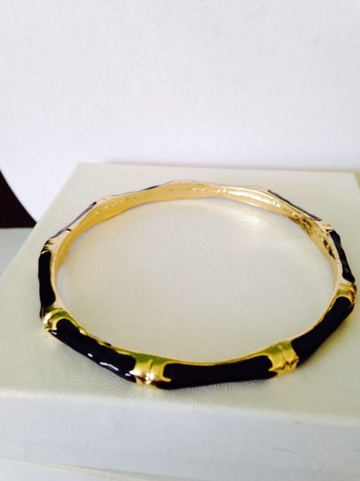 Neiman Marcus Black Enamel & Gold Station Bangle Bracelet