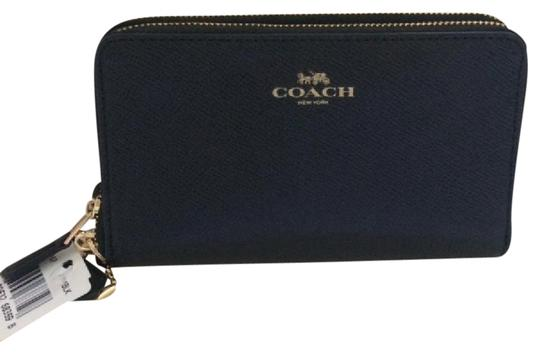 Coach NWT Coach Blk Leather Double Zip Around Wallet
