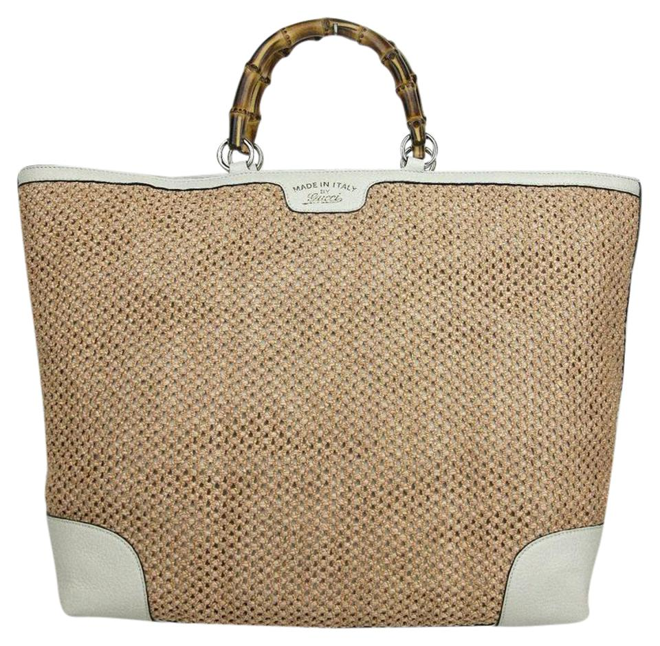 4d82826c8cfcc0 Gucci New Top Handle Bamboo 338964 8561 Beige Straw and Leather Tote ...