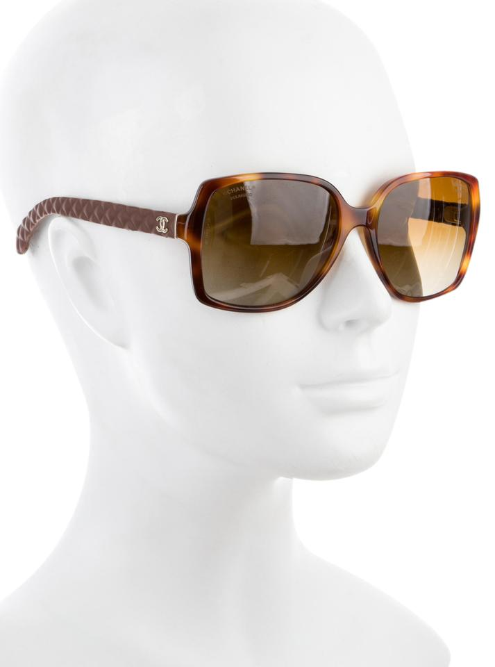 f1fec07595 Chanel Brown Tortoise 5289 Q Square Cc Logo Quilted Goatskin Leather  Sunglasses