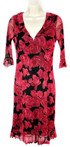 La Belle Empire Waist Floral Polyester Ruffle 3/4 Sleeve Dress