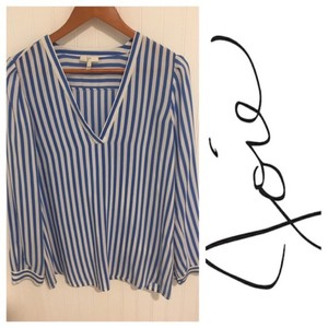 Joie French Silk Stripes 100% Silk Top Blue & White