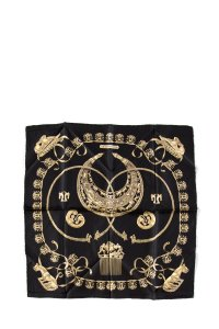 Hermès Hermes Black & Gold 'Les Cavaliers d'or' Small Silk Scarf