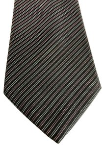 Brioni NEW Brioni White Pink and Black Diagonal Striped Silk Tie