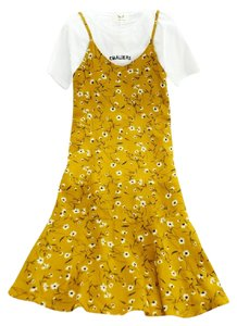 yellow Maxi Dress by private label Chiffon Suspender Overall Chic Floral