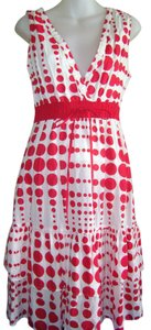 Chaudry short dress White with Red Polka Dots Summer Party Date Night on Tradesy