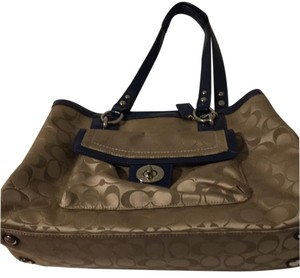 Coach Satchel in tan and navy